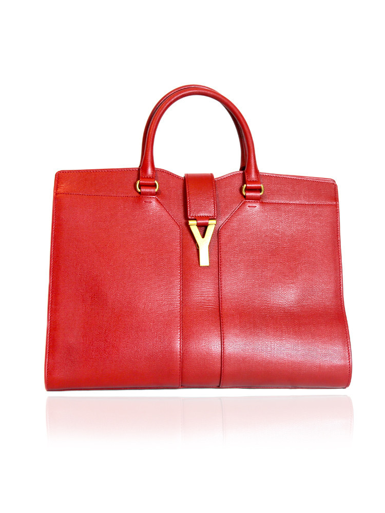 SAINT LAURENT red Cabas Chyc Tote Bag